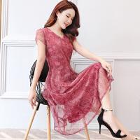 夏季新款韩版修身显瘦中长款气质雪纺连衣裙夏天中年40岁裙子
