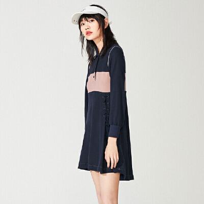 太平鸟短款连衣裙女夏季2019新款polo领撞色藏青长袖设计感裙子女