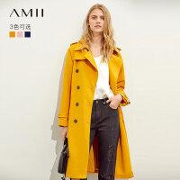 【预估价335元】Amii极简法式复古气质西装领风衣2019秋季新款配腰带修身长款外套