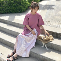 韩版时尚休闲套装夏装女装中长款开叉短袖T恤+压褶半身裙两件套潮