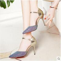 莱卡金顿新款凉鞋女夏鱼嘴鞋舒适中跟金色亮片凉鞋一字扣细跟高跟女鞋6073