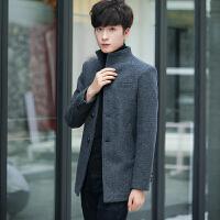 秋冬新款潮流男士立领毛呢外套中长款风衣男青年帅气韩版呢料大衣