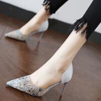 时尚细跟套脚女鞋2018春季百搭拼色侧空单鞋浅口尖头高跟鞋新款女