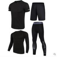 健身房运动套装男户外新品晨跑紧身衣训练装备跑步服篮球服运动衣