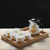 【品牌�豳u】沏茶�仫h逸杯陶瓷耐�崞悴杷�杯�_茶器家用�^�V泡茶�剞k公室功夫茶具套�b 唐僧一�亓�杯+茶�P