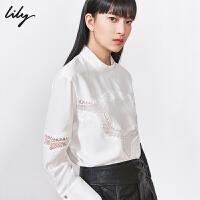 Lily2019冬新款女装拼接几何蕾丝镂空绣花宽松立领套头雪纺衫8948