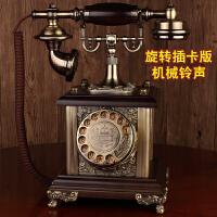欧式复古电话机座机仿古实木老式旋转拨号古董客厅家用固定电话