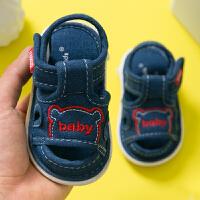 婴儿鞋6-12个月学步鞋软底宝宝布鞋夏季叫叫凉鞋