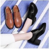 古奇天伦新款单鞋英伦风女鞋黑色小皮鞋粗跟高跟鞋春季韩版百搭DE03347