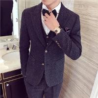 秋冬新款英伦复古雪花点点面料男外套绅士男士西服套装西装三件套 蓝色