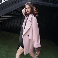 秋冬新款时尚纯色韩版修身毛呢大衣女 西装领双排扣长袖大衣