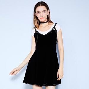 卓多姿夏装显瘦明线纯色吊带连衣裙女734309