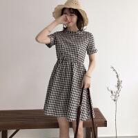 春装新款女装韩版复古拉链格子连衣裙学生小清新短袖立领A字裙潮