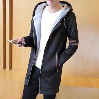 韩版潮牌男装秋冬新款男士修身连帽内里加绒加厚中长款风衣
