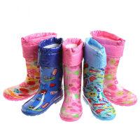 海洋鹿男学生女孩子儿童雨靴中筒四季雨鞋加绒内胆保暖棉套可拆卸