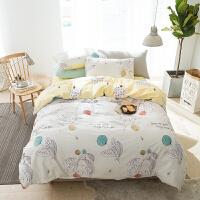 家纺2017秋冬款棉被子美式床上四件套全棉床单被罩床笠款宿舍三件套单人床上用品