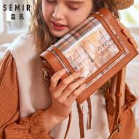 森马单肩包女新款网红小黑包 质感格纹风琴包潮包包女 斜挎包