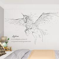 简约现代电视背景墙贴纸创意客厅沙发墙壁装饰画卧室床头贴画自粘 线条飞马 大
