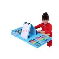 带画架儿童绘画套装水彩笔蜡笔油画棒男女孩生日礼物送儿童画画礼 带礼盒画架蓝色 176件送画本礼袋