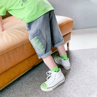 左西男童牛仔短裤夏装2021新款儿童中大童弹力中裤五分裤夏季