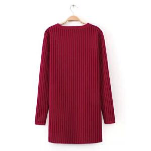 时尚冬季女装新款中长款加厚条纹大口袋毛衣裙潮流女中长款针织衫