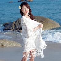 比基尼罩衫外套温泉游泳衣外搭蕾丝镂空海边沙滩度假裙防晒开衫女 均码