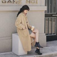 仿羊羔毛中长款外套2019冬季新款女士韩版宽松洋气百搭仿皮草大衣