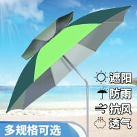 钓鱼伞2.4米透气钓伞防风地插鱼伞万向折叠加厚雨伞遮阳伞 2.2米围布 绿色