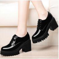 古奇天伦女鞋春季新款韩版百搭复古英伦风皮鞋黑色职业单鞋高跟鞋粗跟WER8742