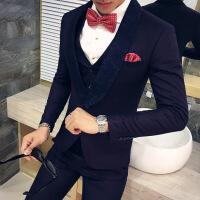 奢华精品男士绸缎拼接西装三件套 韩版夜店男士修身西服套装 酒红色