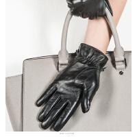 时尚女士真皮手套保暖加绒加厚触屏皮手套韩版开车骑车防风 可礼品卡支付