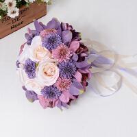 婚庆韩式新娘手捧花仿真玫瑰婚礼婚纱照道具结婚手抛花球