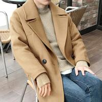 冬季新款男士毛呢大衣韩版宽松中长款青年呢风衣外套潮双排扣大衣 姜黄色