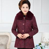 中老年女装秋冬装大码绣花毛呢外套妈妈装呢子大衣