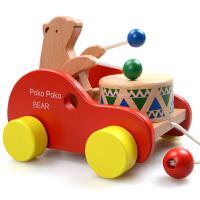 拖拉学步玩具拉车婴儿幼儿拖拉车儿童手拉绳拉线玩具车拉绳玩具车