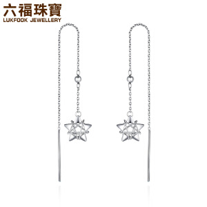 六福珠宝PT950铂金耳线娉婷星情守护白金耳环女款定价EFT1P50002