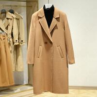 双面呢大衣女中长款冬装新款 韩版西装领百搭休闲毛呢外套