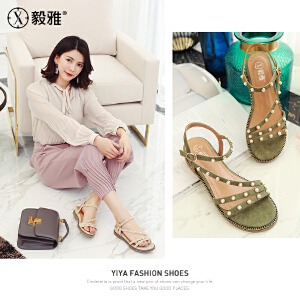 【毅雅】2018夏季新款韩版百搭时尚珍珠一字扣罗马鞋女坡跟低跟女凉鞋 YL8WW2078