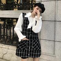 秋装女新款韩国小香风chic长袖衬衫+毛呢格子口袋无袖背心连衣裙 均码