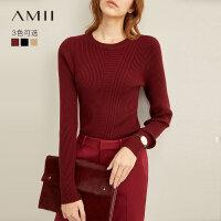【到手价:102元】Amii极简气质法式打底毛衣女2019秋季新款圆领修身黑色针织上衣