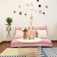 【品牌热卖】懒人沙发床榻榻米可折叠单人双人两用阳台卧室客厅小椅子现代简约 180三人位+3个抱枕 (加高款)