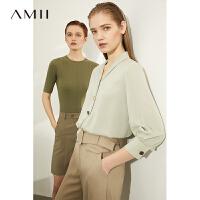 【券后�A估�r:88元】Amii�O�感小�V�I雪�衫�r衣2020秋�b新款�赓|�L袖女士�r衫上衣
