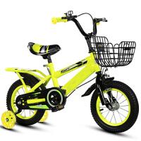 儿童自行车2-3-4-6-8岁男女孩童车12141618寸小孩单车脚踏车 黄顶配+后座+闪轮+铁框+礼品 18寸
