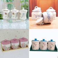 陶瓷密封罐 仿搪瓷调味罐三件套 咖啡糖果茶叶防潮保存 款式随机