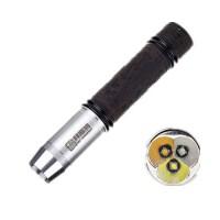 拜斯特强光手电筒三光源聚光头 白黄紫365nm鉴定翡翠琥珀(檀木),紫光365 白光LED 黄光LED 三光组合