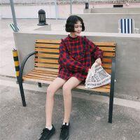 18原新款女装格子长袖圆领衬衫学院风