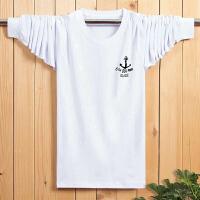 韩观春秋季男士运动T恤加肥加大码男装中青年长袖T恤男圆领宽松打底衫