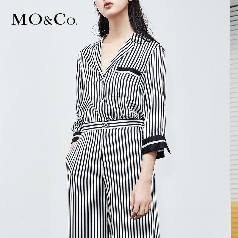 MOCO夏季新品黑白条纹拼接睡衣风衬衫女MT182SHT101 摩安珂 满399包邮 休闲睡衣风 黑白拼接条纹