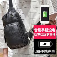 新款胸包男士韩版潮个性运动休闲小背包单肩斜挎包胸前包腰包 黑色 耳机孔+USB充电口