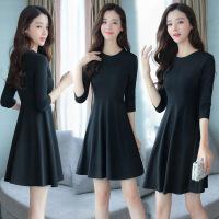 连衣裙年冬季中长款长袖低圆领潮流气质优雅韩版修身 黑色